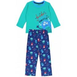 Green Long Sleeved Top & Blue Bottoms Pyjama Set For Boys Little Monsters Design