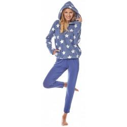 Niebieska cieplutka bluza w gwiazdki PIGEON