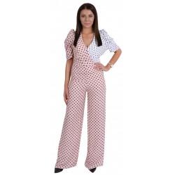 Różowo-biały kombinezon w grochy, spodnium FOREVER UNIQUE