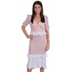 Pink/White, Polka Dot Print, V-neck, Ruffle Waist Midi Dress For Ladies FOREVER UNIQUE