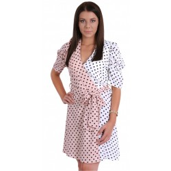 Pink/White, Polka Dot Print, Wrap Front, Short Sleeves Mini Dress For Ladies FOREVER UNIQUE
