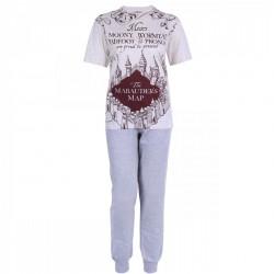 Beige Top & Grey Bottoms Pyjama Set For Men Marauder's Map HARRY POTTER HOGWARTS