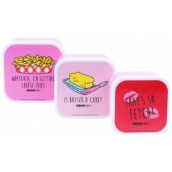 3x Różowe pudełko śniadaniowe