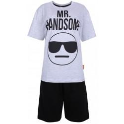 Szaro-czarna piżama męska MR. HANDSOME EMOJI