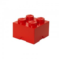 Czerwony pojemnik na drobne zabawki KLOCEK LEGO