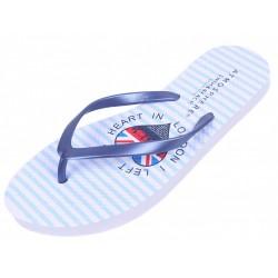 White/Blue, Striped, Flip-Flops For Ladies