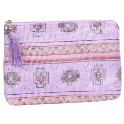 Pink cosmetic bag with patterns