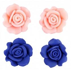 2x Blue, pink rose earrings