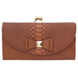 Brown wallet with a bow