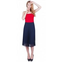 ASOS Granatowa plisowana spódnica midi