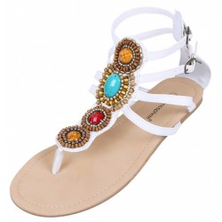Białe gladiatorki, sandały z koralikami Primark