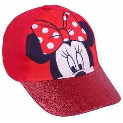 Czerwona czapka dziewczęca z brokatowym daszkiem Myszka Minnie Disney