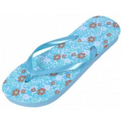 Niebieskie, damskie japonki w kwiatki