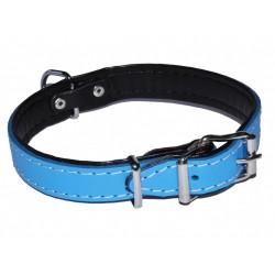 Błękitna, skórzana obroża dla psa 20mm/47cm