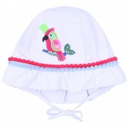 Biały, wiązany kapelusik dziewczęcy z naszywką papugi