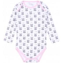 Biało-różowe body niemowlęce w króliczki