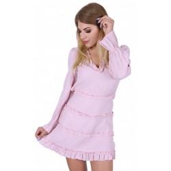 Jasnoróżowa, krótka sukienka z długim rękawem, wycięte plecy