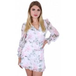 Biała tiulowa sukienka w kwiaty,wycięte plecy