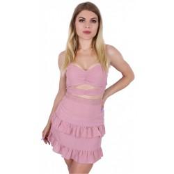 Różowa spódniczka z falbankami w kropki+krótki top na ramiączkach