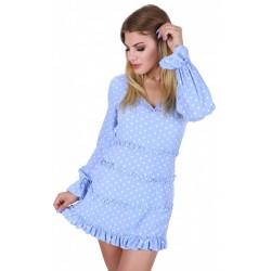 Niebieska krótka sukienka z długim rękawem w groszki,wycięte plecy