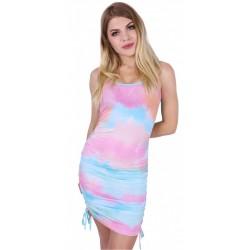Kolorowa sukienka mini ze ściągaczami