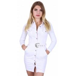 Biała, jeansowa mini sukienka zapinana na guziki