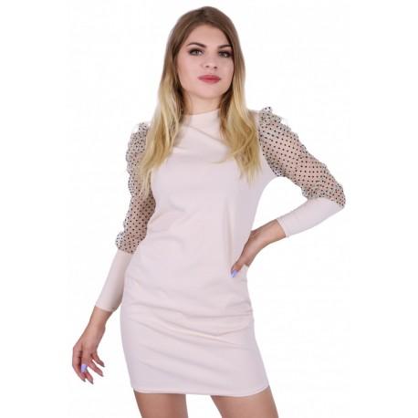 Elegancka, beżowa sukienka z siateczkowymi rękawami