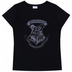 Czarny, damski t-shirt z krótkim rękawkiem, nadruk z logiem Hogwartu