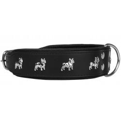 Czarna, skórzana obroża Bulldog Francuski- 65 cm