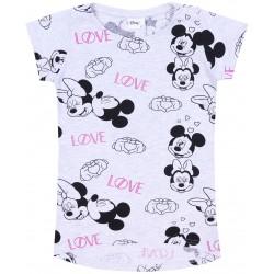 Szara koszulka na krótki rękaw, w powtarzający sie motyw Myszki Mickey