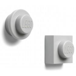 Szary zestaw dwóch magnesów w kształcie klocków LEGO