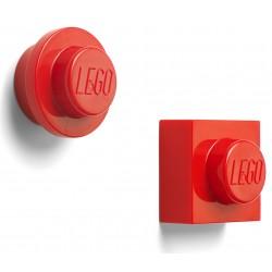 Czerwony zestaw dwóch magnesów w kształcie klocków LEGO