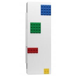 Biały piórnik z kolorowymi płytkami i minifigurką LEGO