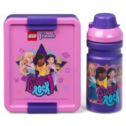 Różowo-fioletowy zestaw lunch box i bidon 390ml. Friends LEGO