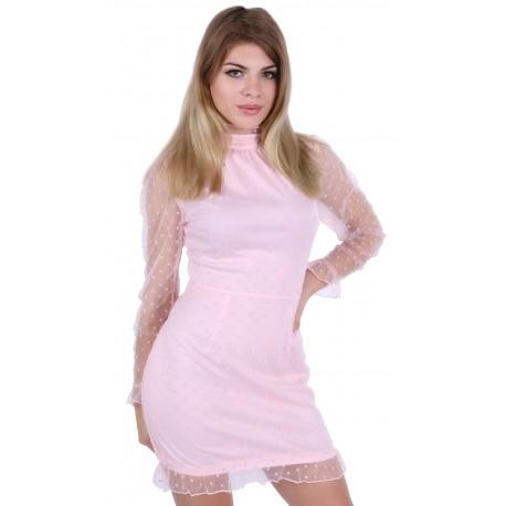 Pink Polka Dot Sheer High Neck Frill Trim Dress