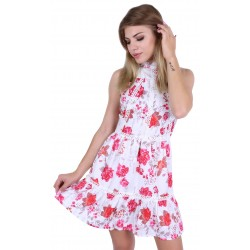 White dress with pink flowers, open back