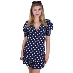 Navy Blue Polka Dot Frill Hem Puff Sleeve V Neck Mini Dress