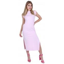 Pink Basic Shoulder Pad Side Slit Maxi Dress