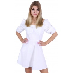 White summer dress with puff sleeves