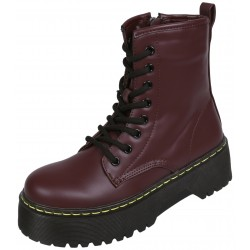 High Maroon Boots/Combat Boots With A Thick Sole Zippered VICES
