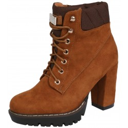 Brown suede boots on heel, tied with laces VICES