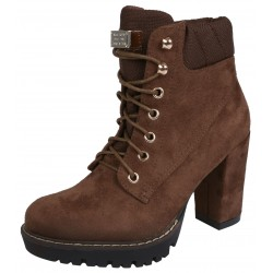 Dark Brown Suede Boots On Heel, Tied With Laces VICES