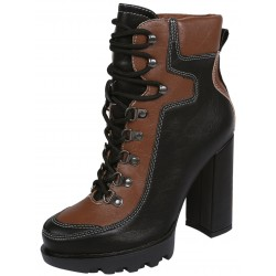 Dark Brown&Black Suede Boots On Heel, Tied With Laces VICES