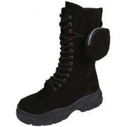 Black Eco-Suede High Boots With A Pocket