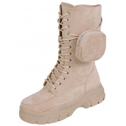 Beige Eco-Suede High Boots With A Pocket