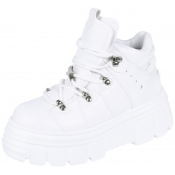 White Eco-Leather  Ankle Sneakers With Laces