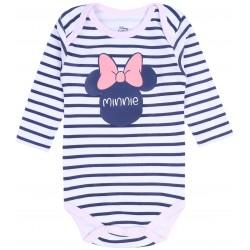 Białe body niemowlęce w paski Minnie Disney