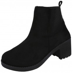 Slide On Black Suede Boots On A Low Heel VICES