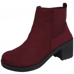 Maroon Slide On Black Suede Boots On A Low Heel VICES