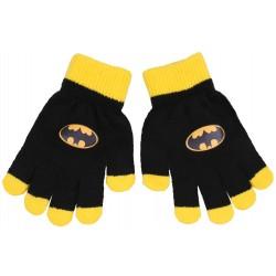 Czarno-żółte,chłopięce rękawiczki z logo BATMAN